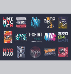 collection of fourteen new york city t vector image