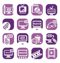Color movie icons set vector