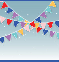 Colorful party flags and confetti vector