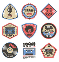 Colorful vintage style emblems set vector