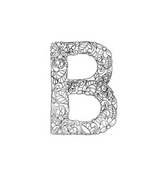 coloring book ornamental alphabet letter b font vector image