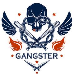 criminal tattoo gang emblem or logo vector image