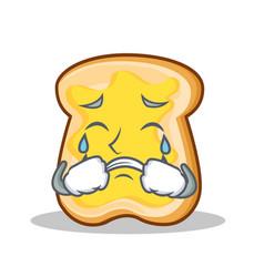 crying slice bread cartoon character vector image