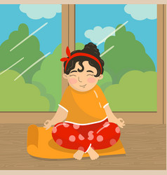 cute beautiful girl sitting in lotus position and vector image