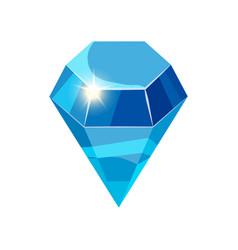Diamond sparkling shining blue color isolated on vector