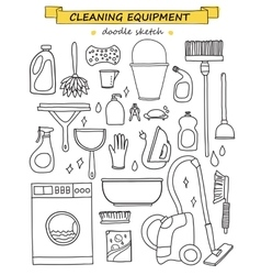 doodle set of cleaning tools vector image