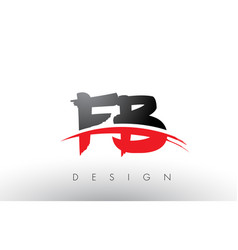 Fb f b brush logo letters with red and black vector