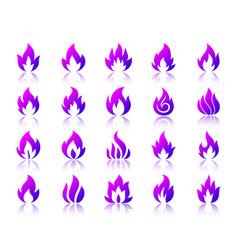 Fire violet simple gradient icons set vector