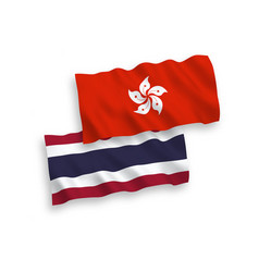 Flags thailand and hong kong on a white vector