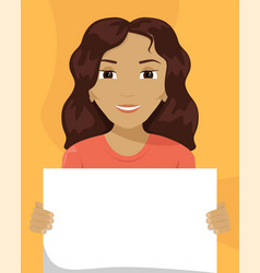Flat a mixed-race woman with a placard in her vector