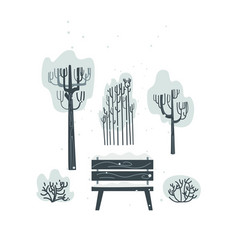 Flat bench tree bush icon isolated vector