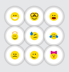 Flat icon emoji set of pleasant tears caress and vector