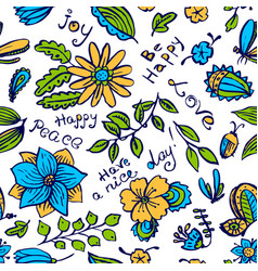 Floral seamless pattern with butterfly and vector