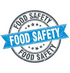 food safety round grunge ribbon stamp vector image