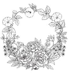 frame with hand drawn wreath peony vector image