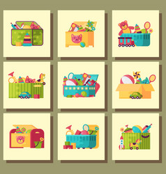 full kid toys in boxes for kids play childhood vector image