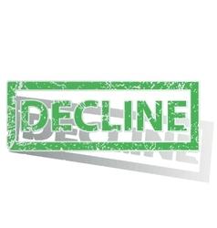 Green outlined DECLINE stamp vector