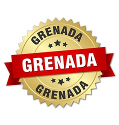 Grenada round golden badge with red ribbon vector image