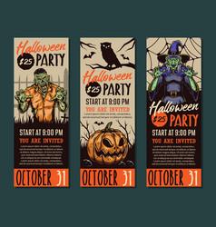 halloween party vertical banners vector image