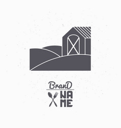 Hand drawn silhouette of farm field with house vector