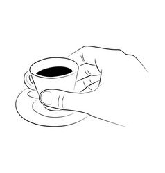 hand holds a cup espresso on a saucer vector image