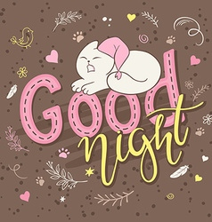 hand lettering text - good night There is cute vector image