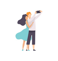happy couple in love taking selfie photo or video vector image
