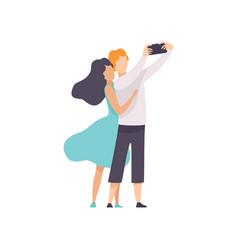 Happy couple in love taking selfie photo or video vector