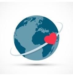 Heart revolves around earth vector