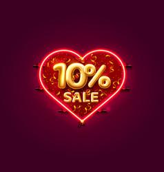 Heart sale 10 off ballon number on white vector
