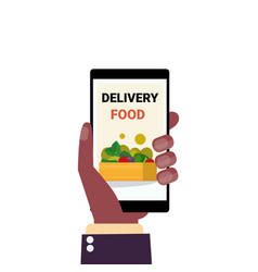 Human hand holding smartphone delivery food mobile vector