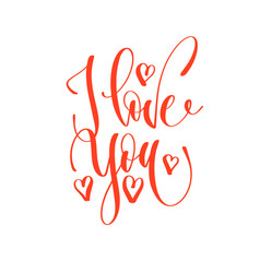 i love you - hand lettering romantic quote vector image