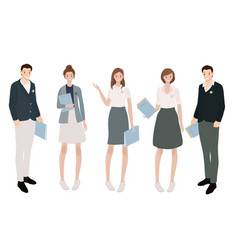 International students in uniform collection vector