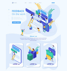 Isometric site users write feedback about services vector