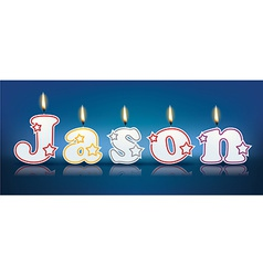 JASON written with burning candles vector