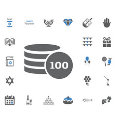 jewish holiday hanukkah icons set vector image