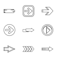 Kind of arrow icons set outline style vector image