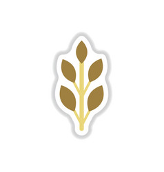 Label with leaf shadow icon design vector