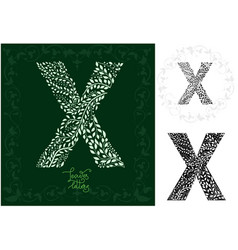 leaves alphabet letter x vector image