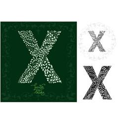 leaves alphabet letter x vector image
