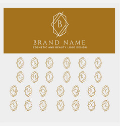 Letter a-z beauty cosmetic line art logo template vector