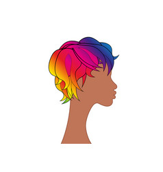 Lgbt person with rainbow hair non binary people vector
