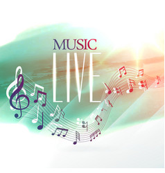 live music design poster with notes wave vector image