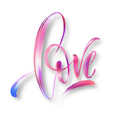 Love word hand drawn lettering color paint brush vector