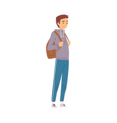 male tourist standing with backpack young man vector image