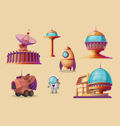 Mars colonization cartoon set futuristic vector