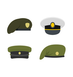 Military cap icon set flat style vector