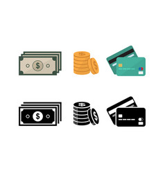money and credit card icon set vector image