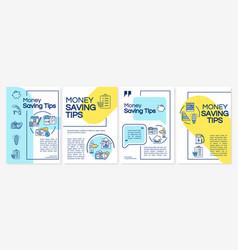 Money saving tips brochure template vector