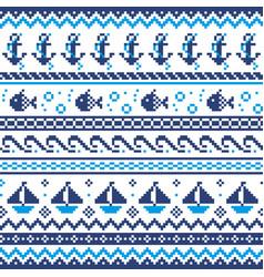 nautical scottish fair isle style traditional knit vector image